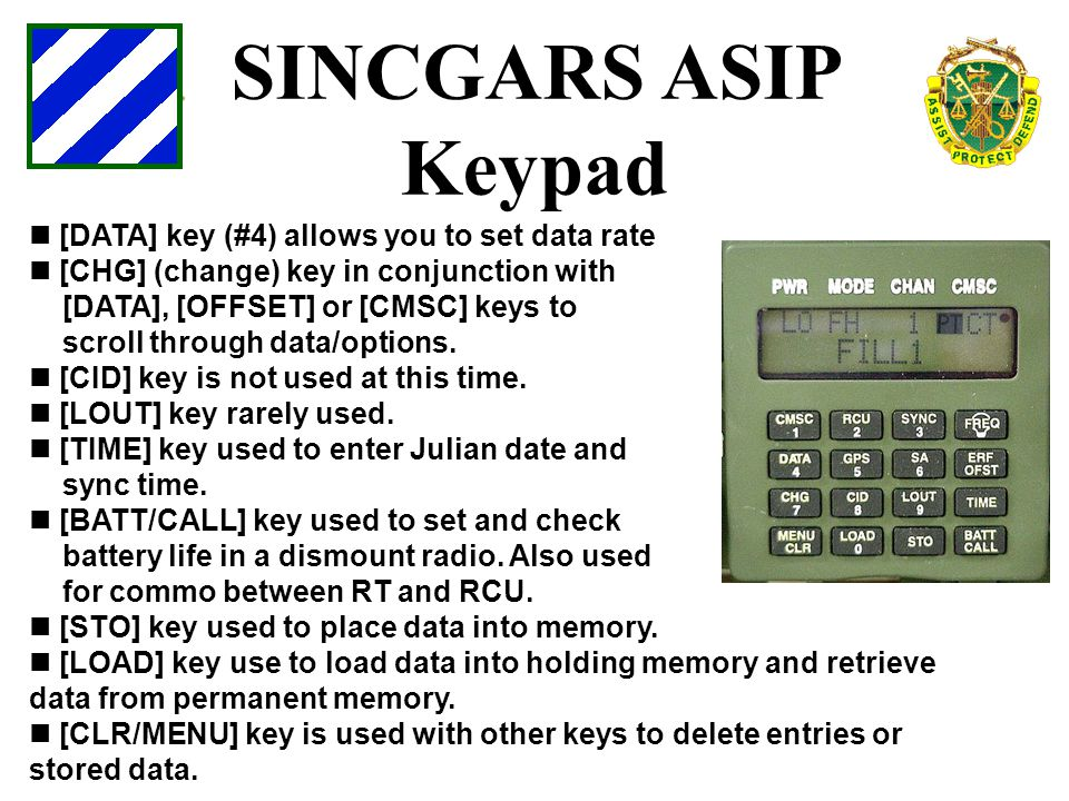 SINCGARS ASIP Keypad [DATA] key (#4) allows you to set data rate